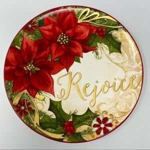 Rejoice Poinsettia Floral Print Plate 9 inches